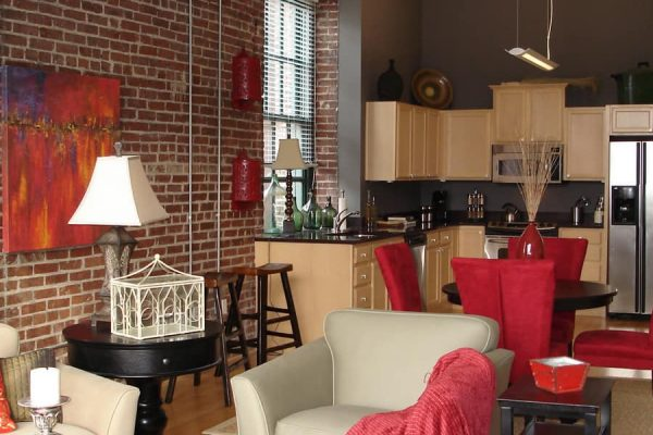 Lofts at South Bluffs kitchen living room open concept