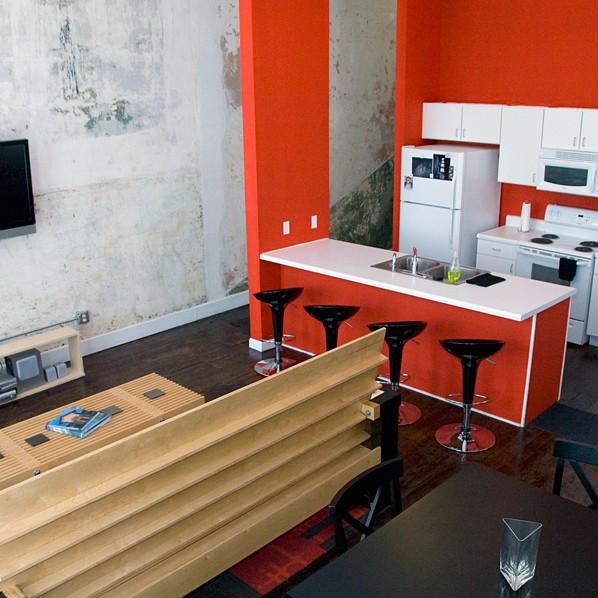 Downtown Memphis flats open concept kitchen living room